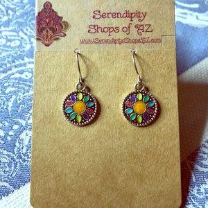 Colorful Silver Metal Drop Fashion Earrings - NWT
